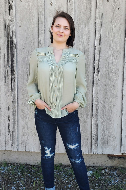 SAGE GREEN LIGHTWEIGHT LONG SLEEVE STITCHED  BLOUSE TOP #779