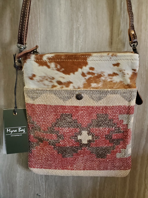 WOVEN COTTON, CANVAS & 100% HAIR ON LEATHER MESSENGER PURSE #542