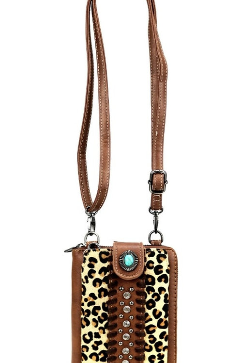 BROWN LEOPARD PRINT MESSENGER STYLE PHONE CASE WALLET PURSE 12 card slots  #198