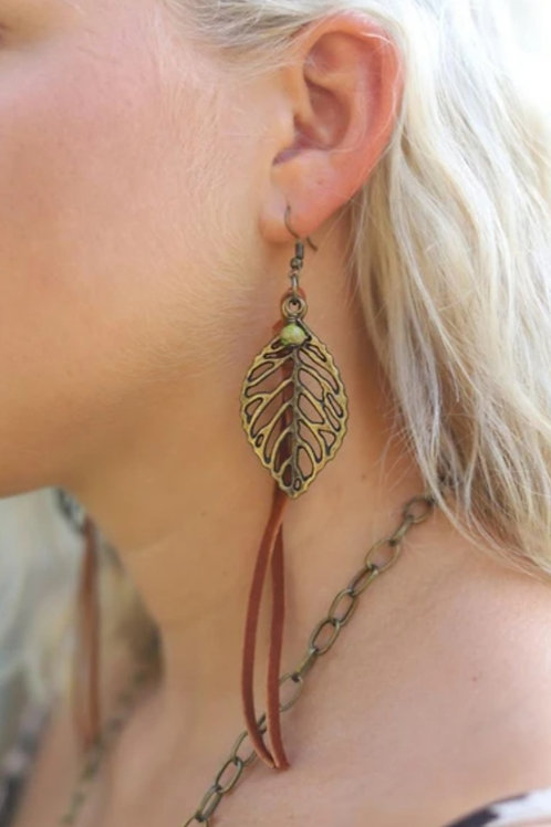 "LEATHER AND BRONZE LEATHER DANGLE EARRINGS 5"" DROP #190"