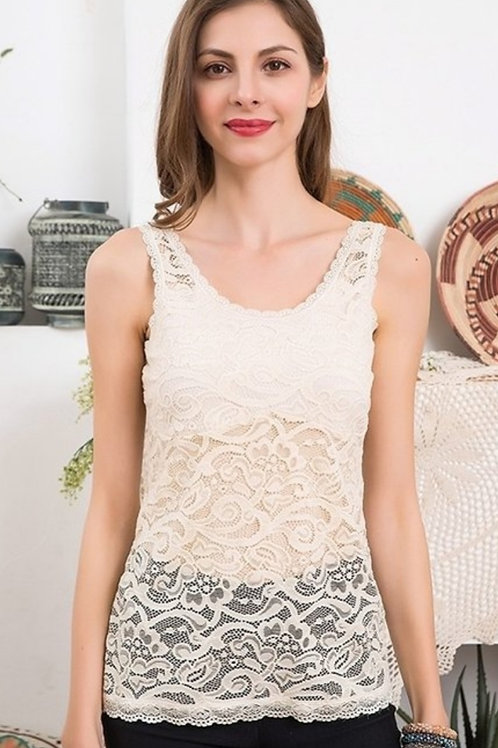 BEIGE & BLACK STRETCHY LACE CAMISOLE #611