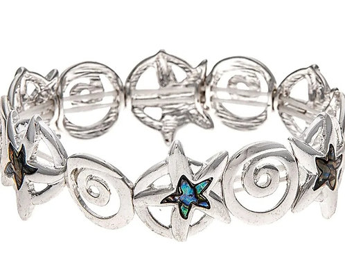 STRETCHY SILVER ABALONE STARFISH BRACELET BY RAIN JEWELRY #132