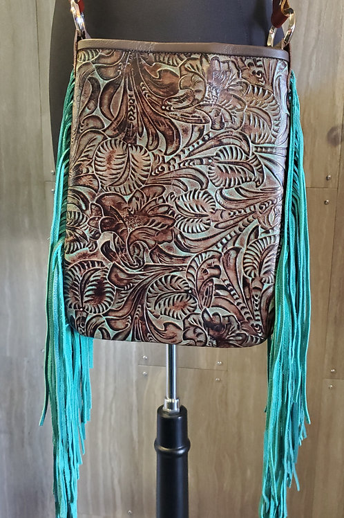 100% GENUINE LEATHER MESSENGER PURSE BAG WITH TEAL FRINGE & TOOLED LEATHER #635