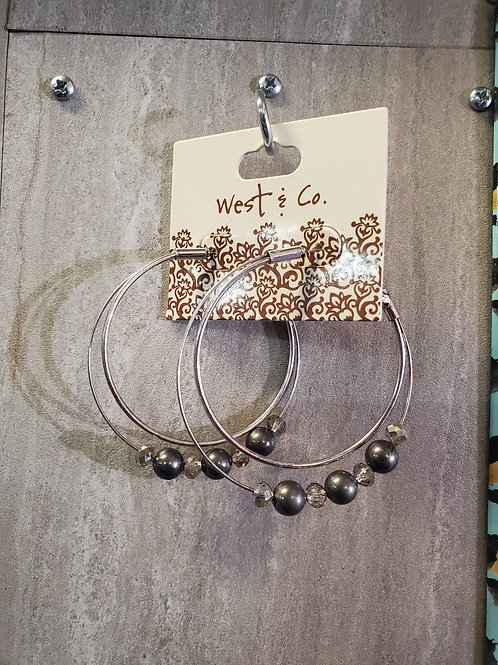 SILVER HOOP EARRINGS WITH PEWTER BEADS & SMOKEY CRYSTALS #614