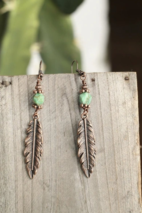 "JADE & ANTIQUE COPPER FEATHER EARRINGS 3"" DROP #189"