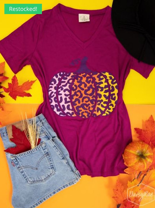 LEOPARD OMBRE PUMPKIN ON FUCHSIA V-NECK TEE #321