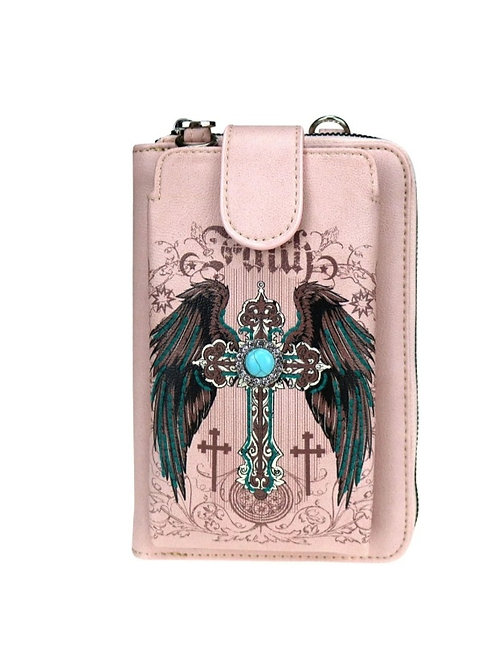 PINK FAITH CROSS WINGS PHONE CASE WALLET PURSE MESSENGER WITH 12 CARD SLOTS #200