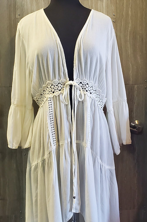 WHITE KIMONO WITH CROCHET DETAILS SWIMSUIT COVER #632