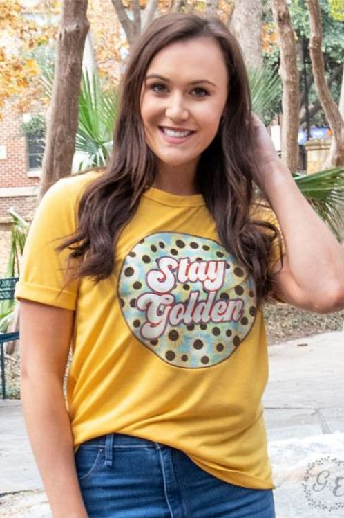 STAY GOLDEN SUNFLOWER GRAPHIC TEE IN SIZES SMALL TO 2X