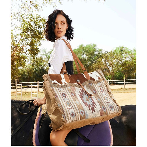 MYRA BAG LARGE WEEKENDER BAG TOTE WITH HAIR ON & TOOLED LEATHER #818