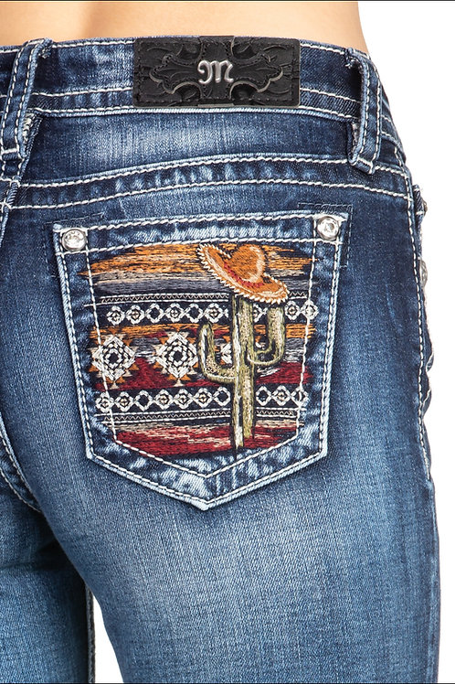 MISS ME BRAND BOOT CUT JEANS WITH CACTUS STITCHED POCKETS #213
