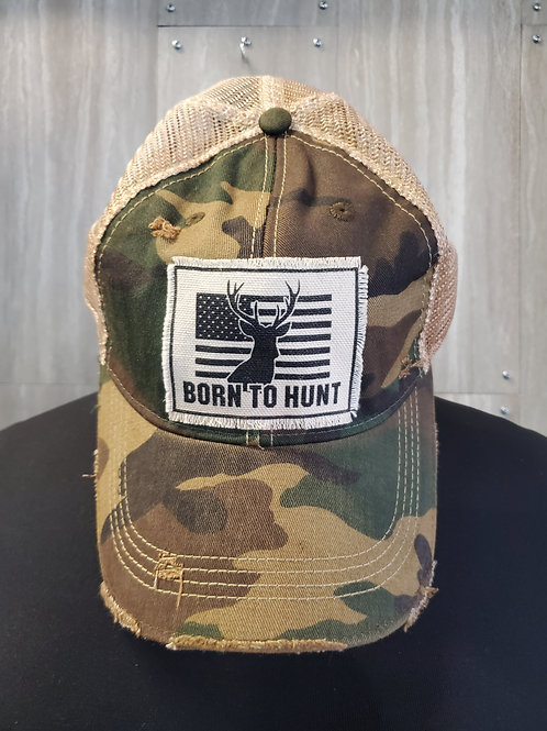 BORN TO HUNT CAMO BASEBALL CAP HAT