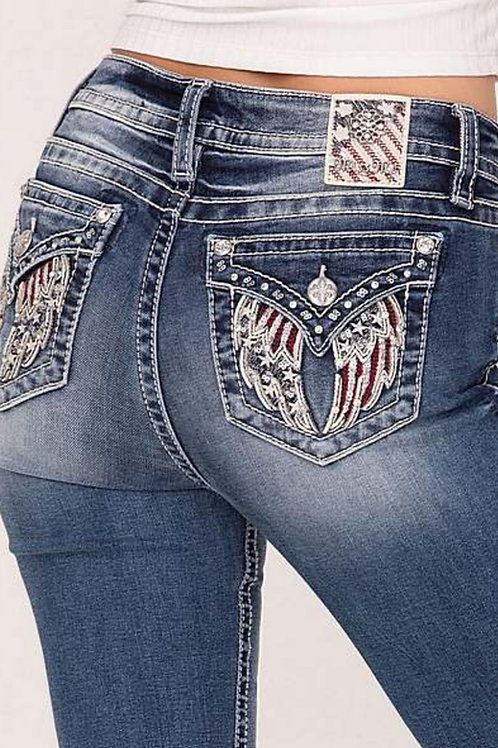 MISS ME BRAND CHLOE BOOT CUT JEANS WITH AMERICAN FLAG WINGS #672