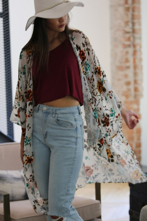 FLORAL BURNOUT KIMONO IN RUSTY BROWNS & PRETTY TEALS #211