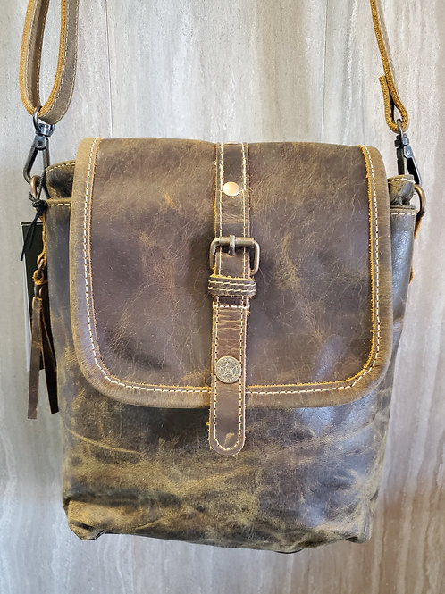 BROWN BEAUTY 100% LEATHER BAG PURSE WITH ADJUSTABLE STRAP #530