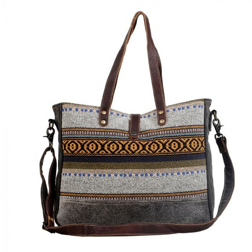 MYRA BAG CANVAS & WOVEN COTTON & HAIR ON LEATHER TOTE PURSE #713