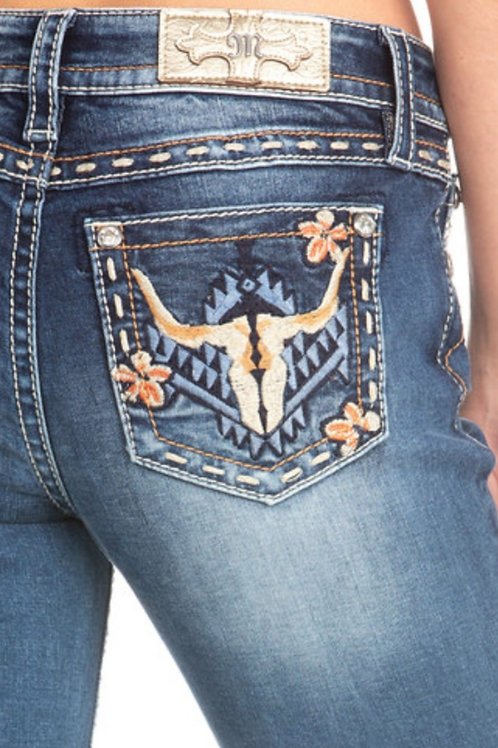 MISS ME BRAND CHLOE BOOT CUT JEANS WITH EMBROIDERED BULL HEAD #271