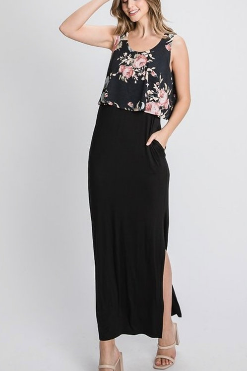 BLACK FLORAL MAXI DRESS WITH POCKETS! #835
