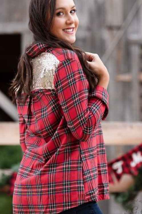 RED PLAID BUTTON DOWN TOP WITH GOLD SEQUINS ACCENT! #305