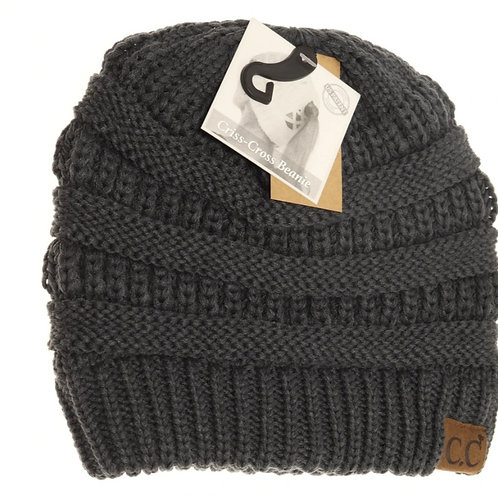 DARK GREY COLORED CRISS CROSS PONY CC BEANIE #292