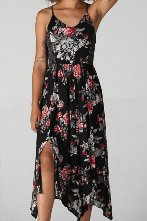 BLACK & RED FLORAL ADJUSTABLE TRAP DRESS #180