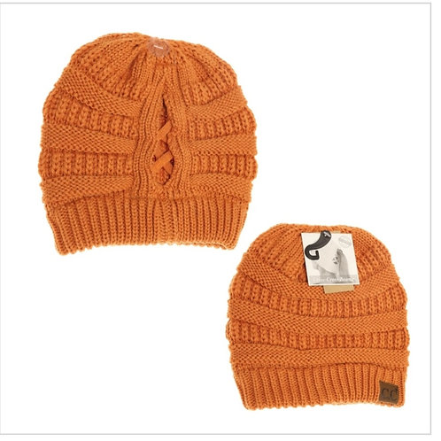 TOFFEE COLORED CRISS CROSS PONY CC BEANIE  #283