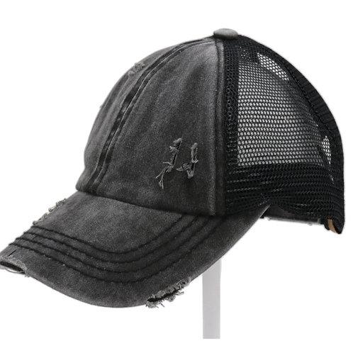 BKACK WASHED DENIM CRISS CROSS PONY CC BALL CAP #252