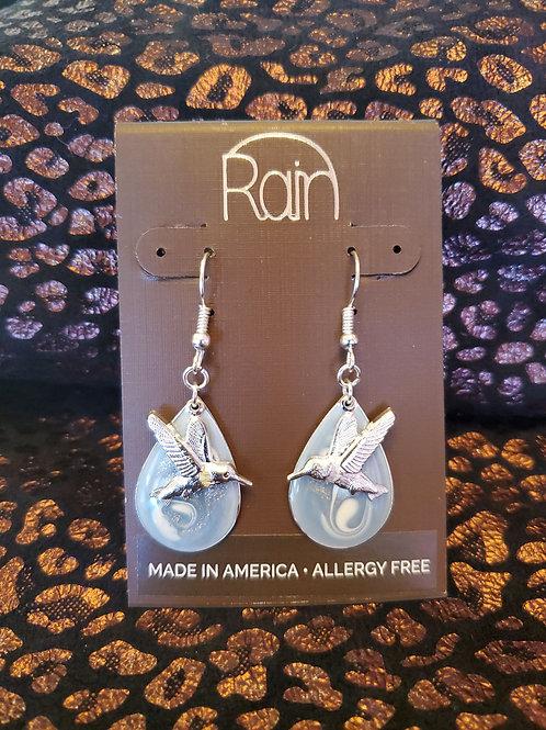 RAIN JEWELRY ENAMEL BLUE HUMMINGBIRD EARRINGS #339