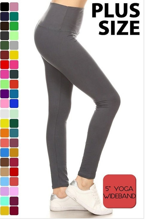 BLACK ONLY!! ONE SIZE PLUS YOGA LEGGINGS FITS APROX 10 TO 16 #494
