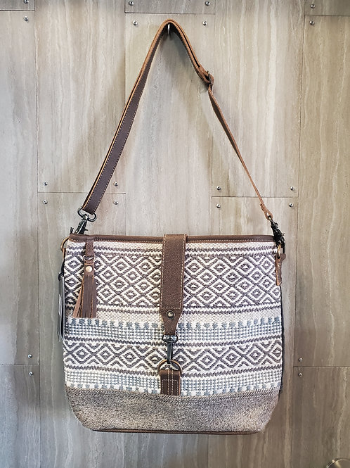 WOVEN 100% COTTON, CANVAS & LEATHER PURSE  WITH ADJUSTABLE STRAP #522
