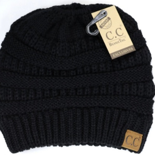 CC BEANIE PONY MESSY BUN WINTER HAT IN 12 COLORS! #445
