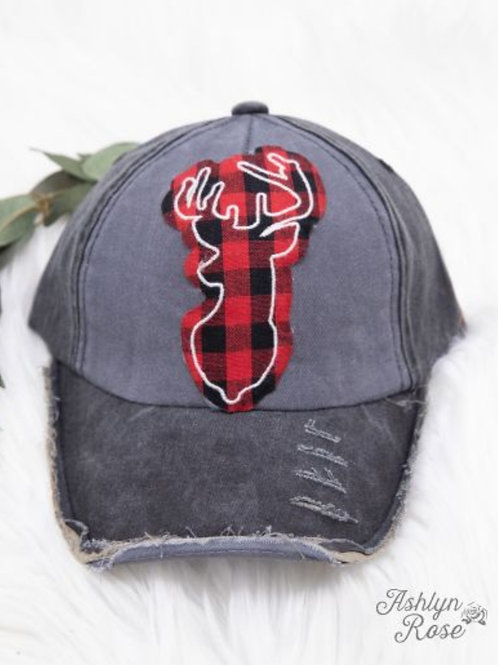 BUFFALO PLAID BUCK DEER HAT CAP #310