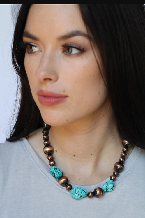 COPPER & TURQUOISE NUGGET NECKLACE #196