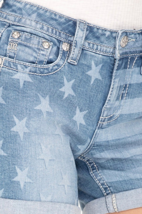 MISS ME BRAND MID RISE SHORTS WITH STARS & STRIPES FADED FRONT #839