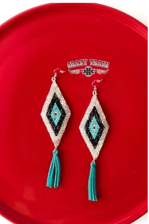 BROKEN BOW BEADED EARRINGS ON TURQUOISE BY CRAZY TRAIN #730