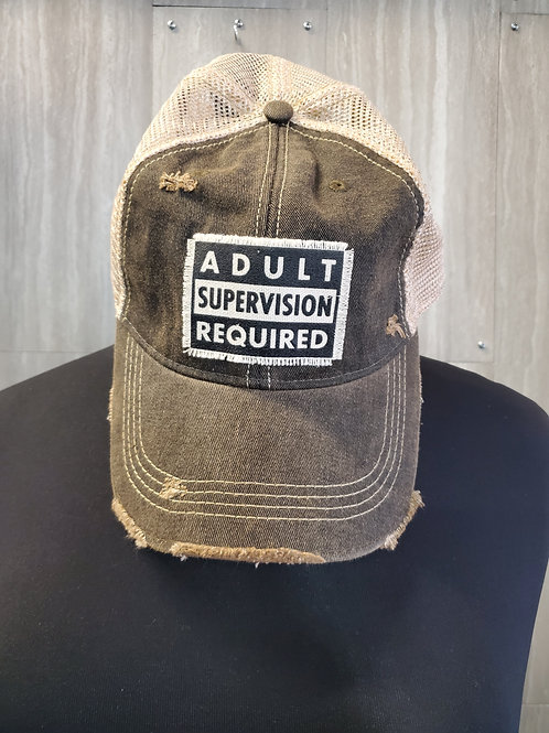 ADULT SUPERVISION REQUIRED BASEBALL CAP HAT