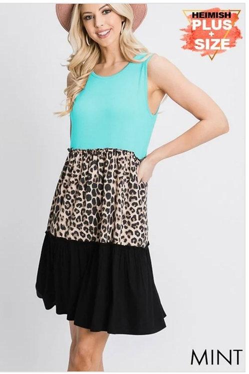 TRI COLORED LEOPARD & TEAL PLUS SIZE DRESS #749