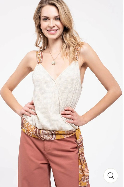 KNIT TANK TOP WITH CONTRAST TIE AND STRAPS #241