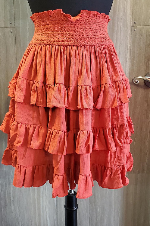 ELASTIC WAIST RUFFLE SKIRT IN A RUSTY CORAL COLOR