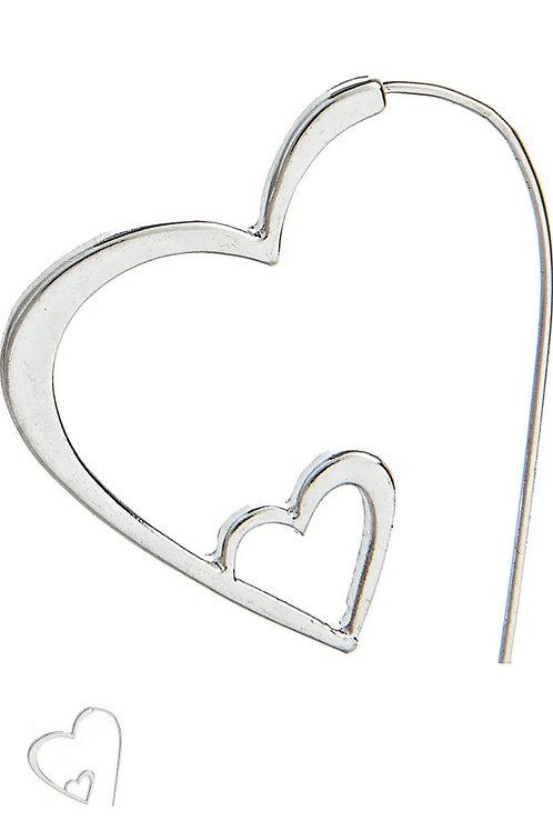 RAIN JEWELRY SILVER HOOP STYLE HEART EARRINGS #470