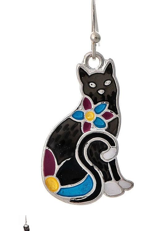 RAIN JEWELRY BLACK ENAMEL CAT EARRINGS #794