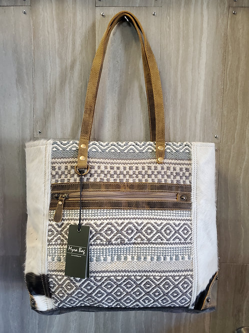 MULTI PATTERN WOVEN COTTON, CANVAS & HAIR ON LEATHER TOTE PURSE #535