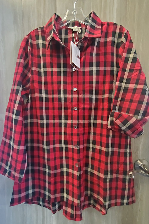 PLAID PRINT BUTTON UP TOP TUNIC WITH ZIPPER BACK DETAIL IN RED & CIDER #420