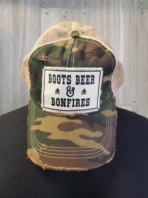 BOOTS BEER & BONFIRES BASEBALL CAP HAT #168