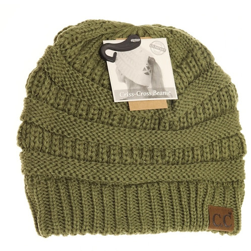 OLIVE COLORED CRISS CROSS PONY CC BEANIE #287