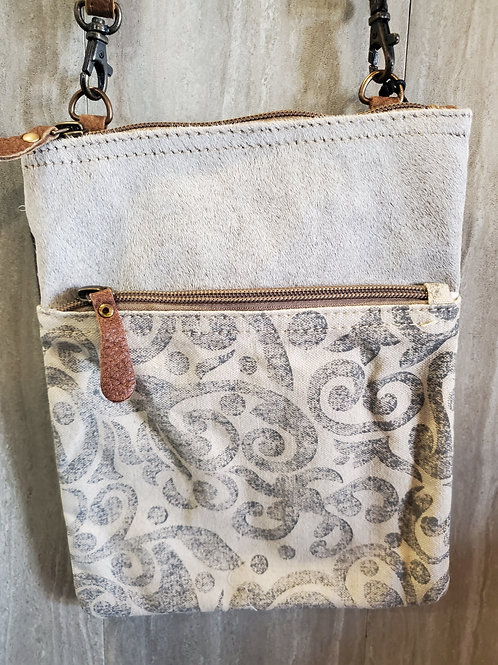 MESSENGER STYLE CANVAS & HAIR ON LEATHER PURSE BAG #540