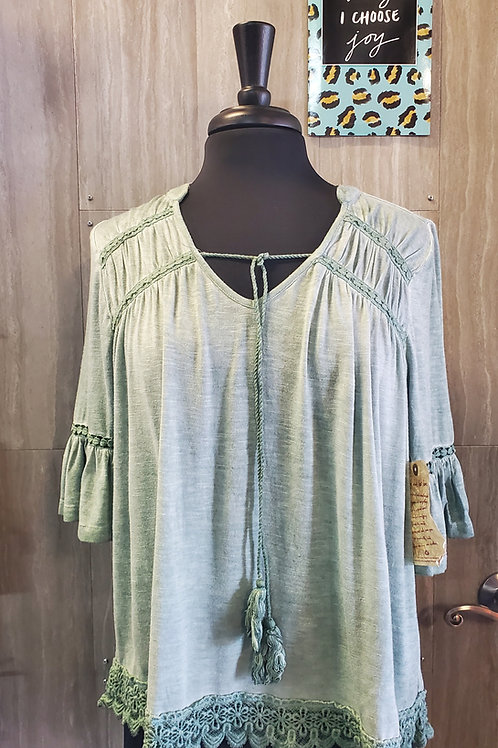 PRETTY GREEN 3/4 SLEEVE TOP WITH CROCHET DETAILS #723