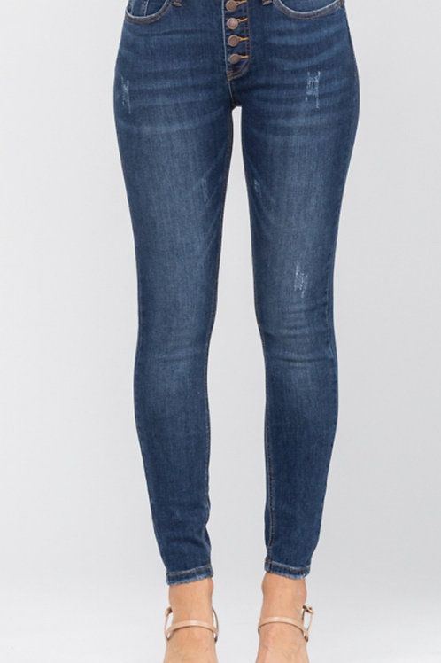 JUDY BLUE STRETCHY BUTTON FLY HIGH WAISTED JEANS SIZES 11 TO 22 AVAILABLE #425