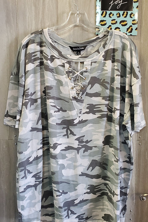 PLUS SIZE GREY AND OLIVE CAMO TOP WITH CRISS CROSS V-NECK DETAIL #813
