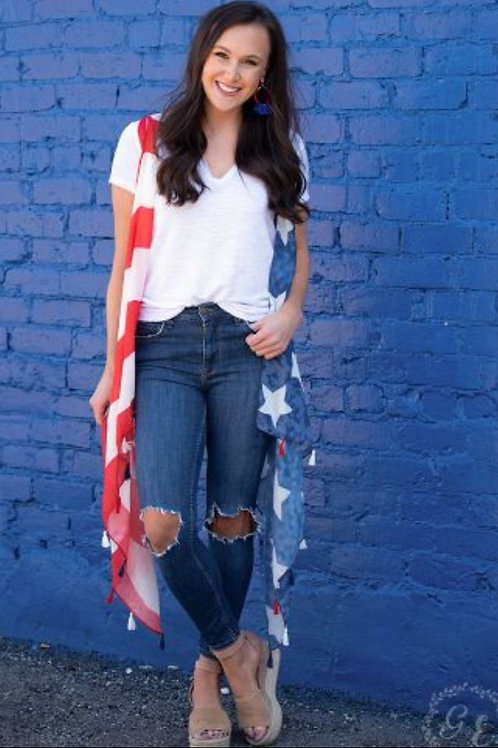 AMERICAN FLAG VEST ONE SIZE FITS ALL #005